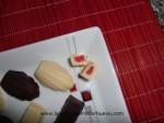 bombones rellenos de piruleta, corte