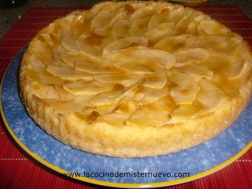 tarta de manzana con bizcocho de yogur