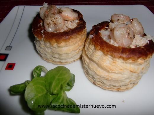 tartaletas rellenas de carne de cangrejo