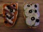 panini de anchoa y panini de calabacin